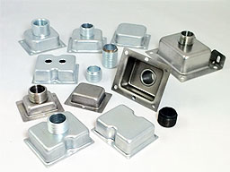 Assembled parts - shields and covers with pipe nipples and threads
